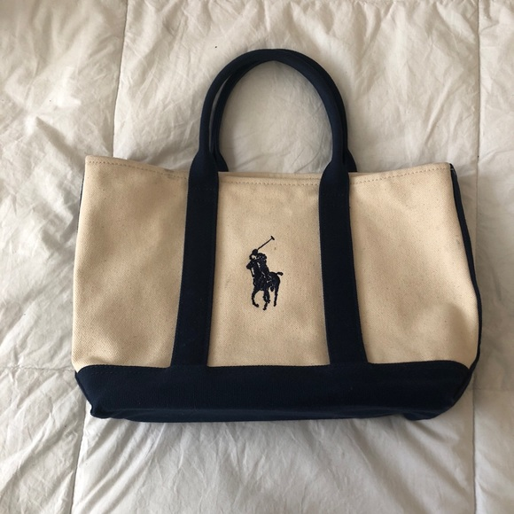 POLO RALPH LAUREN Natural Navy Canvas Tote Bag. M 5bfd8ebede6f621439290d6d 39cc60c6365e9